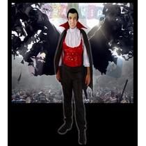 Fantasia Conde Drácula Adulto Vampiro Halloween Dia D Bruxas
