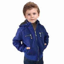 Jaqueta De Couro Natural Infantil/juvenil Importada C/ Capuz