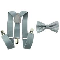 Kit Suspensório+gravata Borboleta Cinza Claro Poá Infantil