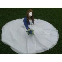 Vestido De Novia Blanco Detalle Labrado Símil Cristal