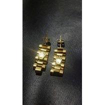 Aretes Rolex De Oro Laminado En 14 Klts