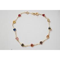 Swjoias Pulseira Pedras Corações Coloridas Zirconia Ouro 18k