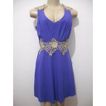 Vestido Curto Azul Com Apliques Renda Tam P Usado Bom Estado