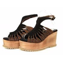Zapatos Sandalias Plataformas En Madera Cuero Combinado