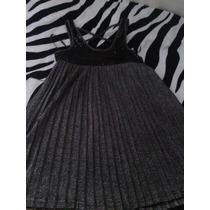 Vestido Bluson De Dama Negro Y Plateado Talla L