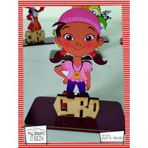 Souvenir Aplique Personalizado Madera 10cm Jake Piratas Izzy