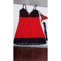 Lenceria Sexy Babydoll Rojo Y Negro Mujer