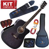Kit Violão Elétrico Folk Vck370 Bmf Rajado Vogga Capa Cabo