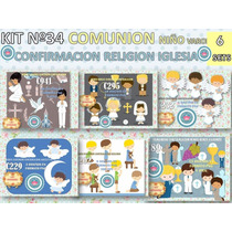 1 Kit Imprimible X 6 Comunion Niño Nene Varon Rezando Angel