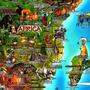 Mapa Mundi Cultural Ilustrado Invenções Mares Cidades Rios