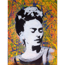 Arte México Pintura Original Retrato Frida Khalo Color
