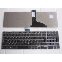 Teclado Laptop Toshiba S55, S50 Marco Plateado En Español