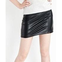 Mini Falda Negra Wet Look Imitación Piel Talla S-m 32-34 Sex