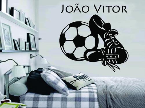 79721304cf Adesivo Parede Quarto Infantil Futebol Bola Chuteira + Nome - R  49 ...