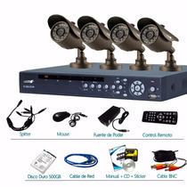 Kit Camaras Seguridad 4 Canales 4 Cam 480tvl Dvr 500gb Logan