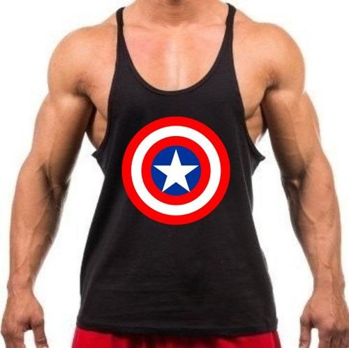 0b51429ae5ecd Camiseta Regata Super Cavada Capitão América P  Musculação - R  24 ...