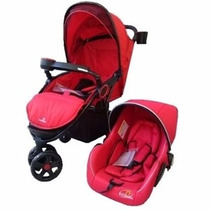 Carrinho De Bebê 3 + Bebê Conforto Vermelho