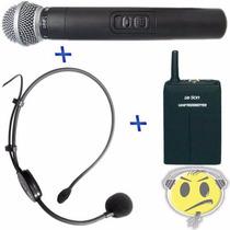 Microfone Sem Fio Duplo Leson Mão + Headset Auricular Hd 75