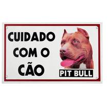 Placa De Advertência - Cuidado Com O Cão - Pit Bull