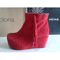 Zapatos Gamuzado Con Plataforma Y Flecos Talle 37 Color Rojo