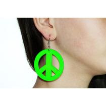 Arete Moda Madera Verde Amor Y Paz Ar200
