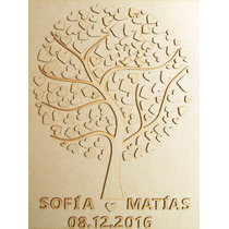 Arbol De Firmas 125 Corazones Recuerdo Mdf Boda Bautizo Baby