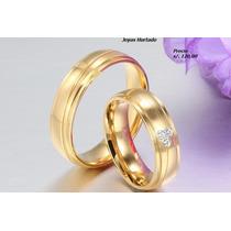 Juego D Aros De Matrimonio Enchapados En Oro De 18 Kl