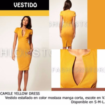 *fashionstore* Camile Yellow Dress. Vestido Mostaza Ajustado