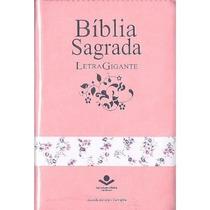 Bíblia Evangélica Letra Gigante Rc Mulher Índice Zíper Rosa