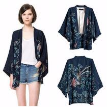 Kimono Feminino Cardigan Japonês Estampa Retrô Phoenix Fênix