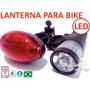 Kit Lanterna Led Para Bicicleta Suporte + Farol Luz Traseira