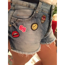 Shorts Bermuda Jeans Patchs Stickers Hot Pants Cintura Alta