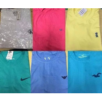 Kit 5 Camisetas Básicas Lisas Bordadas + 2 Camisa Polo Masc
