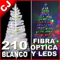 Arbol Blanco 210 Fibra Optica Y Luces Led Integradas Navidad