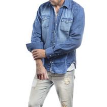 Camisa De Jean Azul Localizado Detalle Bordado - Relax Multi