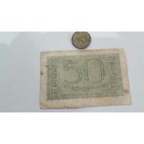 Billete Y Moneda Antigua Bronce Alemania Nazi Guerra Mundial