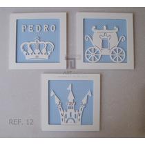 Trio De Quadros Nome Enfeite Príncipe Castelo Quarto Menino