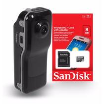 Filmadora Mini Dv Dvr Camera Video Espiã Capacete + 8 Gb