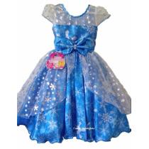 Vestido Festa Luxo Infantil Princesa Frozen E Tiara