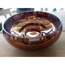 Vaso Cachepot Vidro Espelhado Bronze Centro De Mesa