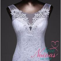 Vestido Noiva Sereia Civil Branco Renda Pronta Entrega
