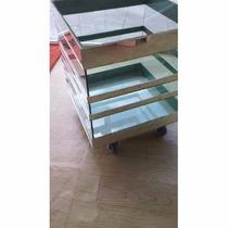 Cachepo Vidro Verde Trabalhado 30x30x30 Com Rodinha