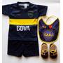 Kit Camiseta + Short Babero Escarpines Futbol Boca Bebe