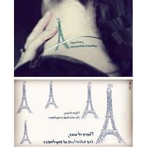 Plantilla Con 5 Tatuajes Temporales De Torre Eiffel