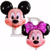 10 Globos Cumple Fiestas Cara De Mickey Y Minnie Con Varilla