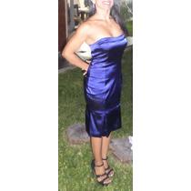 Delicado Vestido Strapless, Largo Medio De Raso Azul Noche.