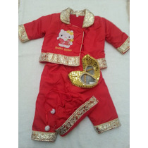 Conjunto Traje Para Bebe Infantil Chino Rojo