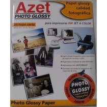 Papel Azet Photo Glossy Irrompible P/ink 20 Hojas