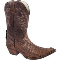 Bota Cowboy Masculina Exótica Texana Silverado Couro Jacaré