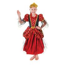 Disfraz D/princesa Vestido Rojo Con Estrellas P/niña Talla S